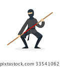 Ninja assassin character in a full black costume 33541062