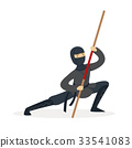 Ninja assassin character in a full black costume 33541083