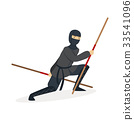 Ninja assassin character in a full black costume 33541096