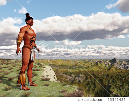 Aztec warrior in front of a landscape 33541425