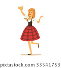 Pretty waitress in a red Bavarian traditional 33541753