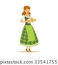 Pretty waitress in a green Bavarian traditional 33541755