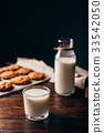 Glass of Milk and Oatmeal Cookies. 33542050