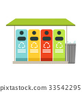Trash recycling containers, rubbish bins row 33542295