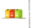 Colorful trash recycling containers, rubbish bins 33542340