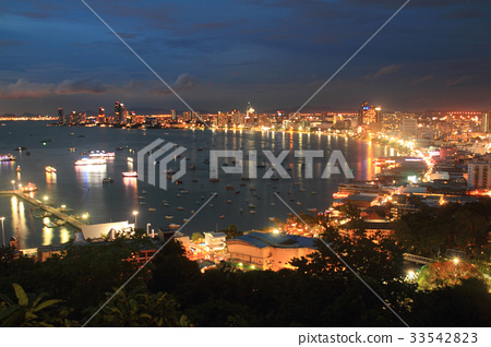 landscape   boat, river and pattaya city Thailand  33542823