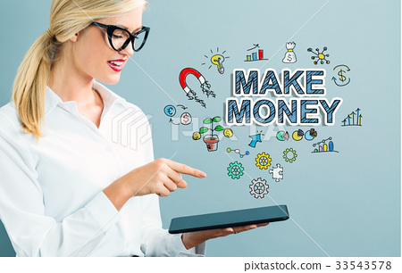 Make Money text with business woman 33543578