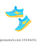 Pair of light blue athletic shoes cartoon vector 33544241