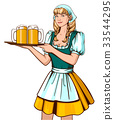 Beautiful young woman waiter holding tray with 33544295