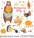 Thanksgiving set with cute forest animals 33544788