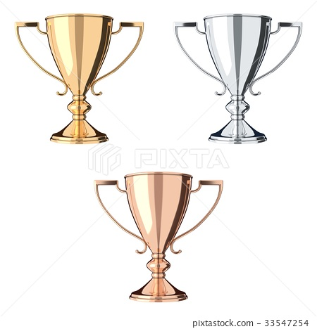 Golden, silver and bronze trophy set 33547254