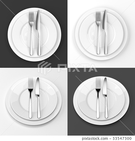 Fork and knife with plates set 33547300