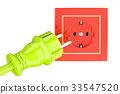 electric plug with socket. 3D rendering 33547520