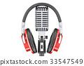 Headphones on retro microphone, 3D rendering 33547549