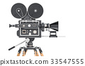 Old movie camera, side view. 3D rendering 33547555