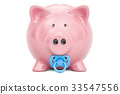 Piggy bank with pacifier, baby fund concept 33547556