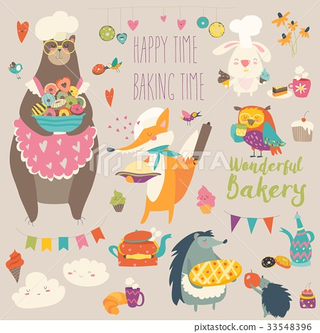 Animals baking the sweets 33548396