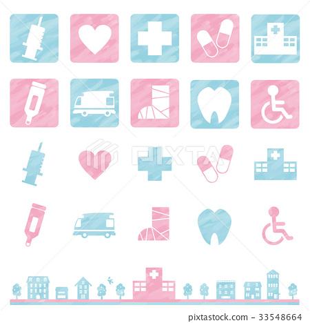 医疗图标(水彩风格) 33548664