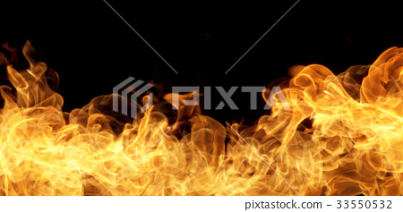 Fire flames on a black background 33550532