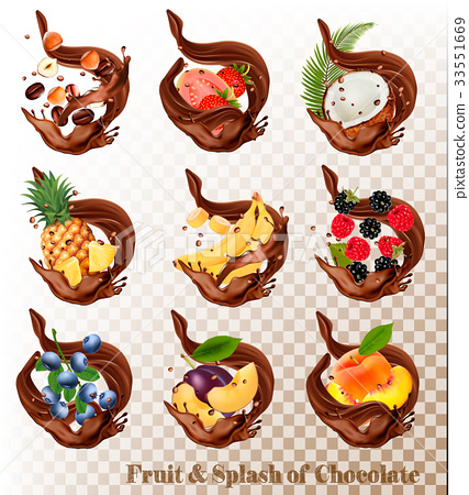Big collection of fruit in a chocolate splash.  33551669