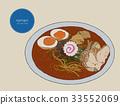 Japanese cuisine soup ramen sketch vector. 33552069