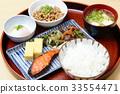 breakfast, salmon set meal, japanese food 33554471