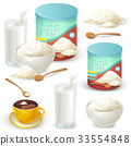 Set of color vector illustrations of whole milk 33554848