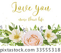 Flower card Design peach Rose magnolia camellia 33555318