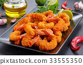 deep fried breaded shrimps on plate 33555350