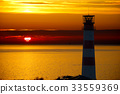 Red Lighthouse with Light Beam at Sunset. 33559369