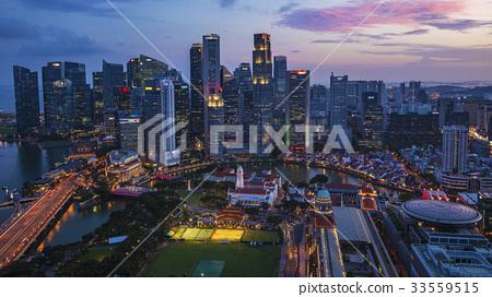 SINGAPORE-City skyline Marina Bay and Raffles  33559515