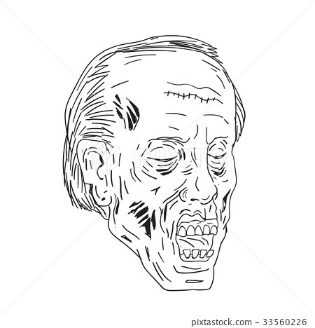 Zombie Head Eyes Closed Drawing 33560226