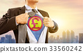 businessman in superhero costume and British pound 33560242
