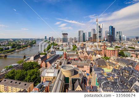 Frankfurt high angel view city skyline, Germany 33560674