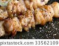 Chicken skin grilled or torikawa yakitori. 33562109