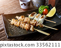 Chicken skin grilled or torikawa yakitori. 33562111
