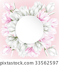 round paper with white and pink flowers 33562597
