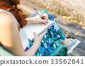Asian women with pen writing notebook  33562641