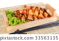 Japanese food;fried tempura shrimps and fried pork 33563135
