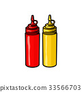 Blank fast food bottles of ketchup and mustard 33566703