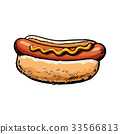 hot, dog, sketch 33566813