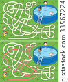 swimming, children, maze 33567224