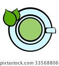 Green tea cup icon, icon cartoon 33568806