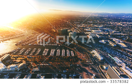 Aerial view of the Marina del Rey seaside 33578382