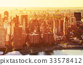 Aerial view of lower Manhattan NYC 33578412
