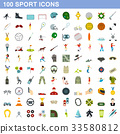 100 sport icons set, flat style 33580812