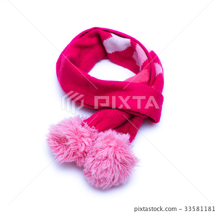 Knitted red scarf with pompoms on white background 33581181