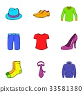 Articles of clothing icons set, cartoon style 33581380