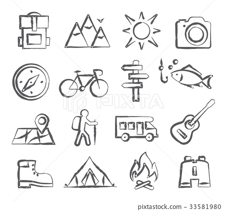 Camping Doodle Icons 33581980