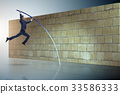 Businessman jumping over brickwall in business 33586333